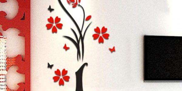 Samolepka na zeď - váza s květinami