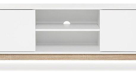 Bílá TV komoda s detaily v dubovém dekoru Intertrade Andy