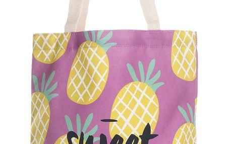 Fashion Icon Módní textilní taška Sweet summer ananas pejsky bavlněná