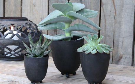 Chic Antique Plechový obal na květiny Antique Coal - set 3ks, černá barva, kov 11cmx13cm
