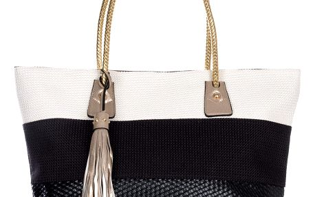 POTRI Velká pletená kabelka pruhovaná s třasní