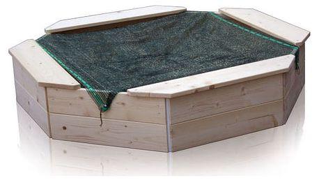 T-WOOD Pískoviště dřevěné osmihranné s ochrannou sítí