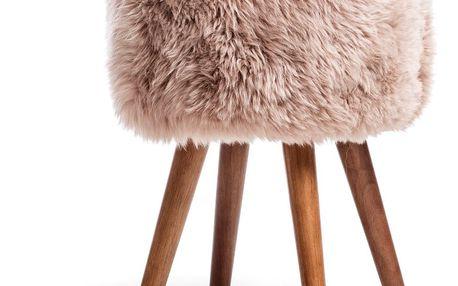 Stolička s béžovým sedákem z ovčí kožešiny Royal Dream