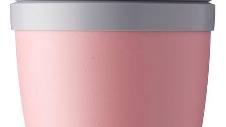 Růžový svačinový box na jogurt Rosti Mepal Ellipse