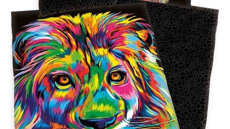 Herding Saténové povlečení Bureau Artistique - Colored Lion, 140 x 200 cm, 70 x 90 cm