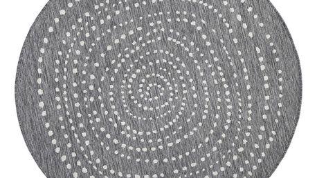 Šedý kulatý oboustranný koberec Bougari Bali, Ø 140 cm