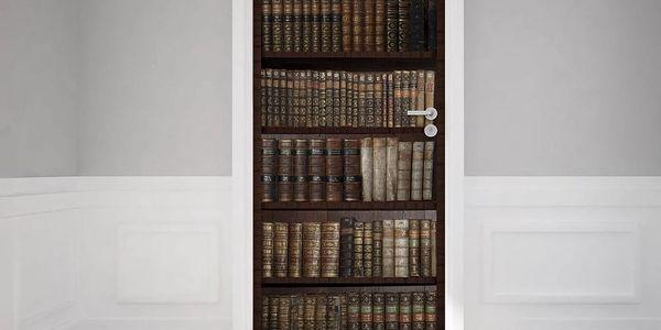 Adhezivní samolepka na dveře Ambiance Bookshelf