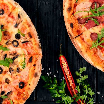 2 poctivé italské pizzy z tradičních surovin
