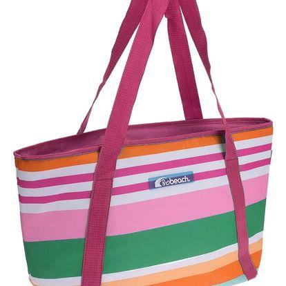 Chladicí taška pruhovaná, růžová