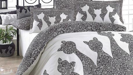Šedé povlečení s prostěradlem na dvoulůžko z bavlněného popelínu Jazz Black,200x220cm