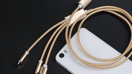 Praktický USB kabel 3v1: micro USB, lighting a typ C