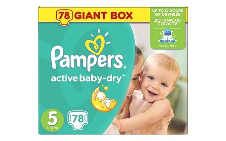 Pampers Active Baby-dry vel.5 Junior, 78ks