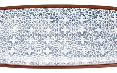 Terakotový oválný servírovací talíř s modrým vzorem Ladelle Tapas, délka48cm