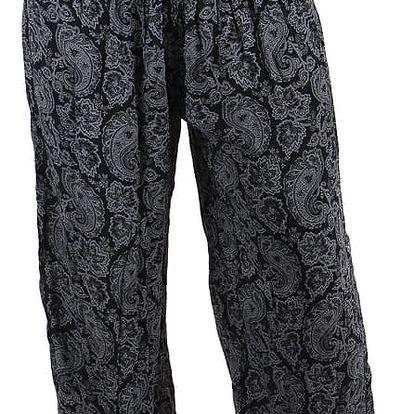Dámské vzorované harémové kalhoty černá