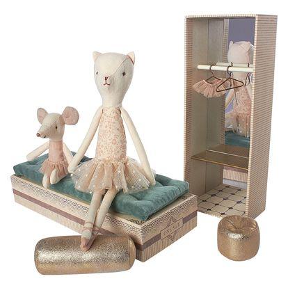 Maileg Tančící kočka a myška v krabičce od bot, růžová barva, papír, textil