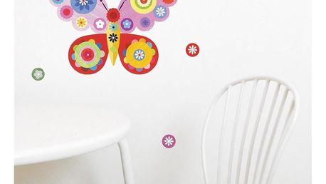 Růžová nástěnná samolepka Chocovenyl Butterfly