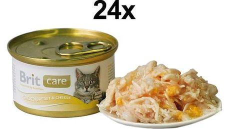 Brit Care Cat kuřecí prsa & sýr 24 x 80g