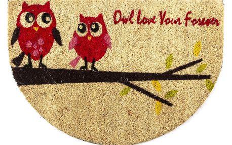 Trade Concept Kokosová rohožka půlkruh Sovy na větvi, 40 x 60 cm
