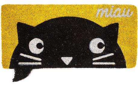 Trade Concept Kokosová rohožka Miau žlutá, 43 x 73 cm