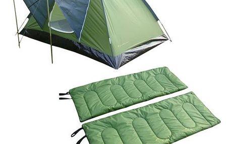 Sada SportTeam obsahuje stan a 2x spací pytle, 2 osoby, jednovchodový, jednoplášťový, zelená