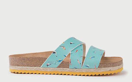 Pantofle Paez Bio Cross Sandal - Prints Turquoise Modrá
