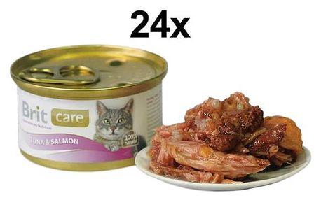 Brit Care Cat tuňák & losos 24 x 80g