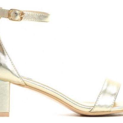 Dámské zlaté sandály na podpatku Mirror 2204