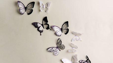 Sada 18 adhezivních 3D samolepek Ambiance Butterflies Chic