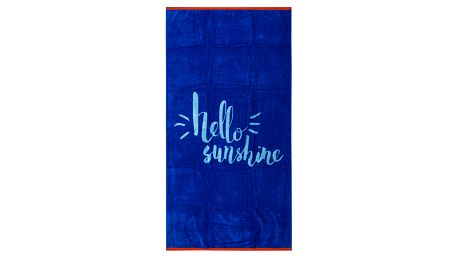 TipTrade Plážová osuška Hello Sunshine modrá 90x170