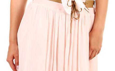Dámská maxi sukně s kapsami světle růžová