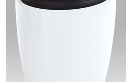 Taburet s úložným prostorem HF-705 WT - plast bílý/černá koženka