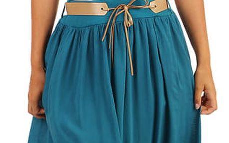 Dámská maxi sukně s kapsami petrolejová
