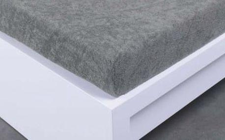 XPOSE ® Bambusové froté prostěradlo dvoulůžko - šedá 180x200 cm
