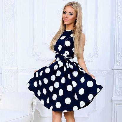 Dámské vintage šaty s velkými puntíky - 2 barvy