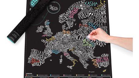 Gurmánská stírací mapa Evropy Luckies of London