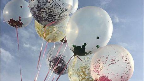 Průhledné party balónky s konfetami 5 ks