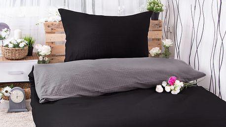 XPOSE ® Krepové povlečení MICHAELA DUO - tmavě šedá/černá 140x200, 70x90