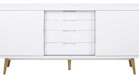 Bílá dvoudveřová komoda se 4 zásuvkami Actona Elise