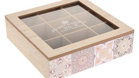 Dřevěný box na čaj KYRA DESIGN, 9 přihrádek - přírodní dřevo EMAKO