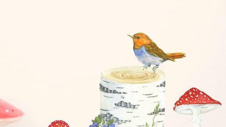 Znovu snímatelná samolepka Chocovenyl Trun, Bird and Toadstools