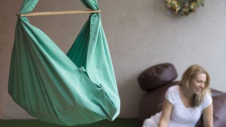 Mentolově zelená kolébka z bavlny se zavěšením do dveří Hojdavak Baby (0až9 měsíců)