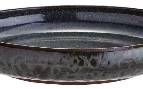 MADAM STOLTZ Kameninový talíř Grey - menší, šedá barva, hnědá barva, keramika