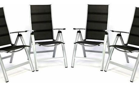 Garthen 35518 Sada 4 ks luxusních polohovatelných sklopných židlí s polstrováním - černé