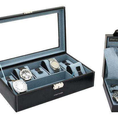 Černý box na 7 hodinek Friedrich Lederwaren Bond