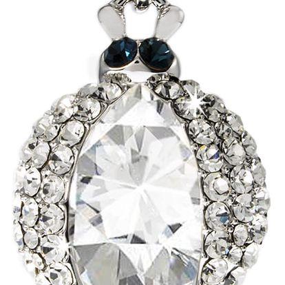 Fashion Icon Přívěsek brouček s krystalem pokovaný platinou