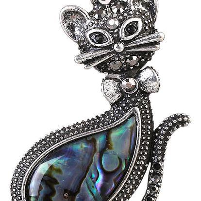 Fashion Icon Přívěsek perleť paua kočička velká perleť paua perleť paua kočka zvířátka etno přírodní materiály s kamínkem 0437