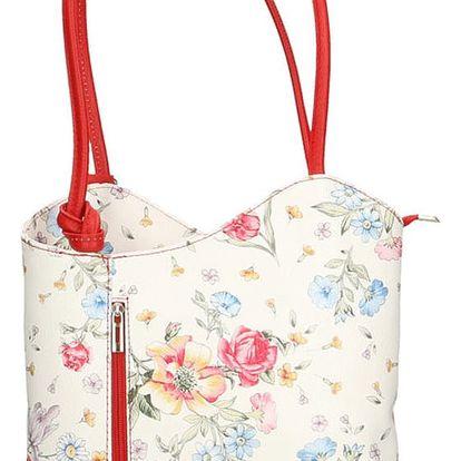 Kožená kabelka s červenými detaily Chicca Borse Paraya