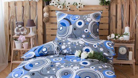 XPOSE ® Bavlněné povlečení na dvě lůžka ŠÁRKA - modrá 140x200, 70x90