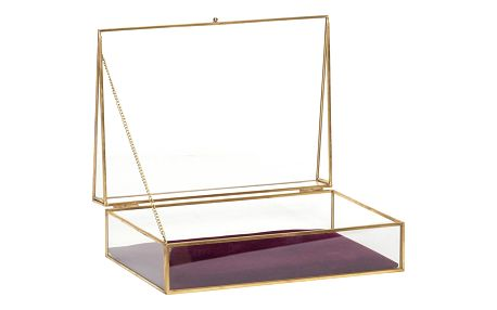 Hübsch Skleněný box Velvet Purple, fialová barva, zlatá barva, čirá barva, sklo, kov