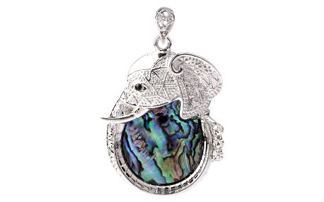 Fashion Icon Přívěsek slon hlava s Paua perletí